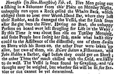 1733 newspaper clipping on shipwreck