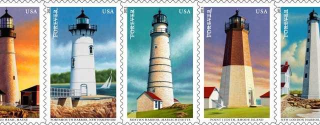 Exciting news! The U.S. Postal will soon be releasing a new series of five New England Coastal Lighthouse stamps. The set features five lighthouses: Portland Head, Maine; Point Judith, Rhode...
